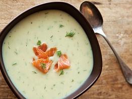 Крем-суп с копченой семгой